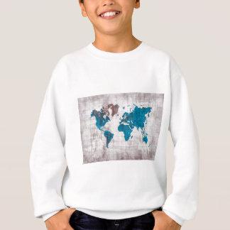 world map white blue sweatshirt