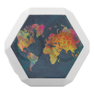 world map white bluetooth speaker