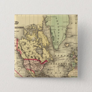 World Map with Explorers' sea routes 15 Cm Square Badge