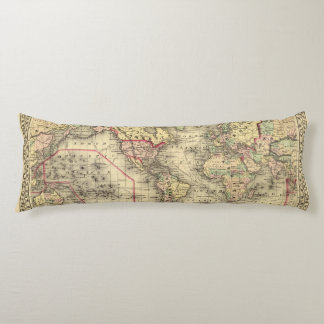 World Map with Explorers' sea routes Body Cushion