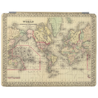 World Map with Explorers' sea routes iPad Cover