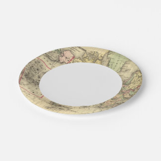 World Map with Explorers' sea routes Paper Plate