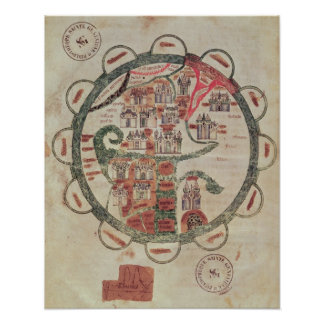 World map with Jerusalem in the centre Poster