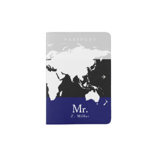 world map with Mr. name Passport Holder
