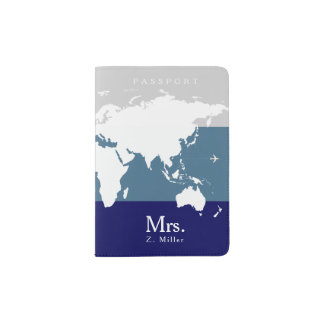 world map with Mrs. name Passport Holder
