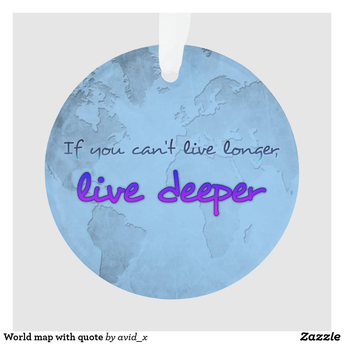 World map with quote ornament