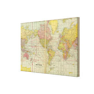 World map with shipping lanes canvas print