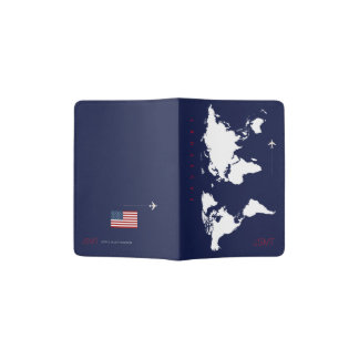 world map with USA flag, travel Passport Holder