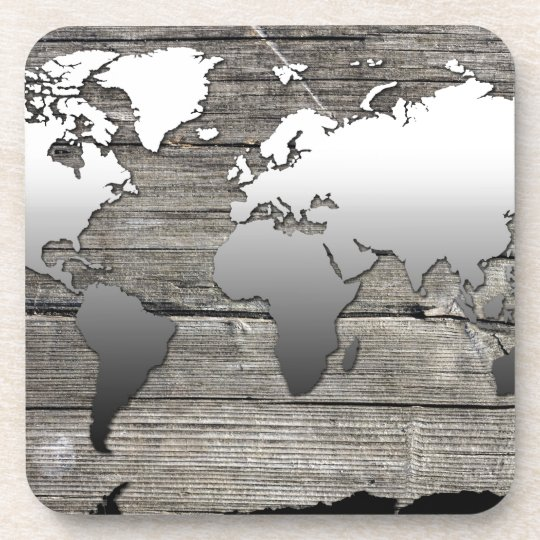 world map wood 13 coaster