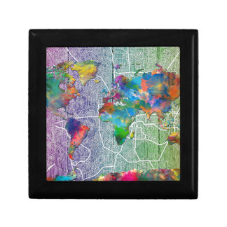 world map wood 4 small square gift box