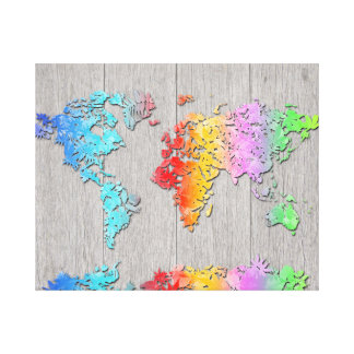 world map wood 7 canvas print