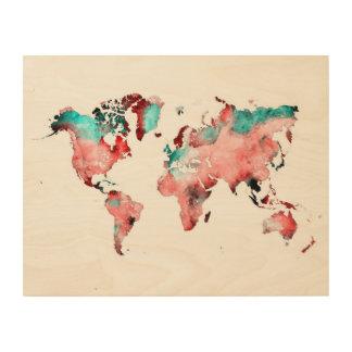 world map wood art wood prints