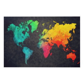 world map wood canvas