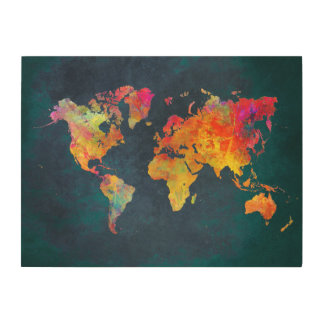 world map wood canvases