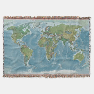 World Map Woven Blanket - Earth Tones