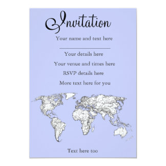 World maps in baby blue 13 cm x 18 cm invitation card