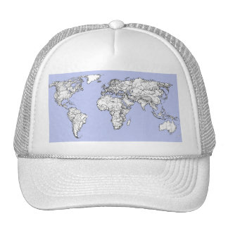 World maps in baby blue cap