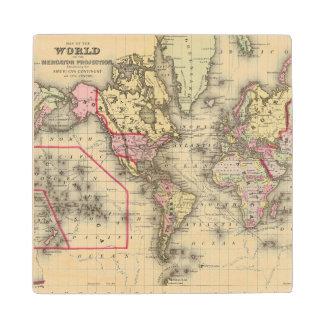 World Mercator proj 2 Wood Coaster