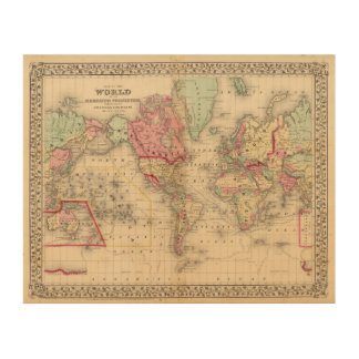 World Mercator proj Map by Mitchell Wood Canvases