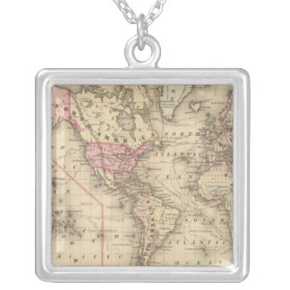 World Mercator proj Silver Plated Necklace