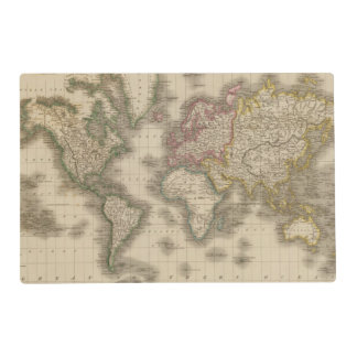 World, Mercator's Projection 2 Laminated Place Mat