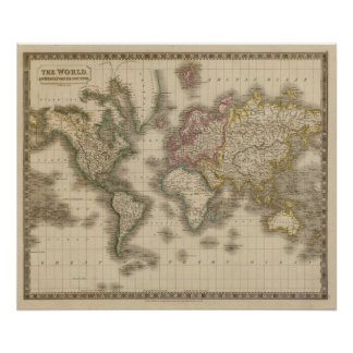 World, Mercator's Projection 2 Poster