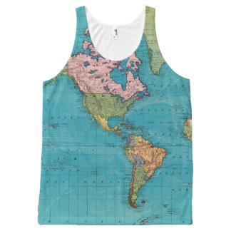 World, Mercator's Projection All-Over Print Tank Top