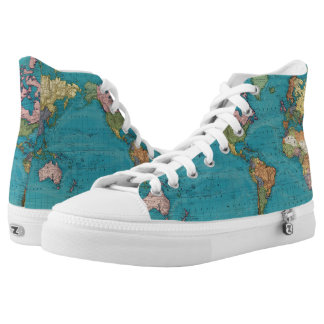 World, Mercator's Projection High Tops
