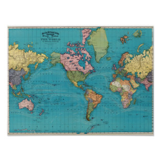 World, Mercator's Projection Poster