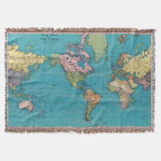 World, Mercator's Projection Throw Blanket