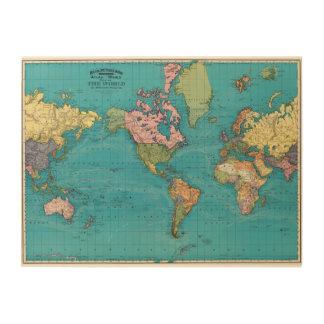 World, Mercator's Projection Wood Print
