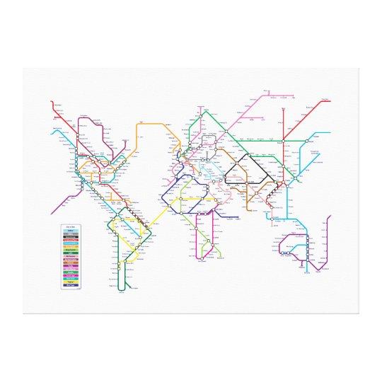 World Metro Map Canvas Print