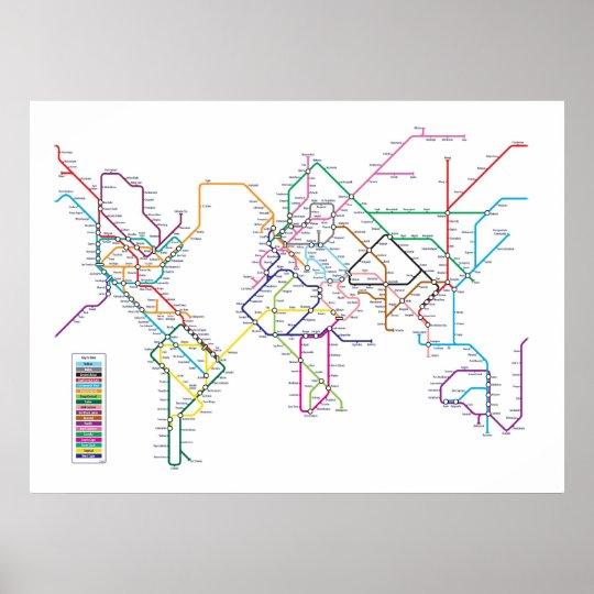 World metro subway map poster zazzle world metro subway map poster gumiabroncs Choice Image