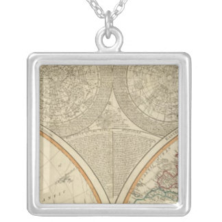 World north hemisphere map silver plated necklace