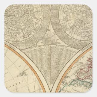 World north hemisphere map square sticker