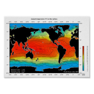 World Oceans Temperature Map, Detailed - HD Poster