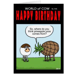 World of Cow Pineapple Birthday Card