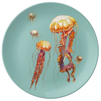 world of jellyfish porcelain plates