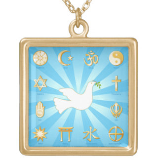 World of Peace Square Pendant Necklace