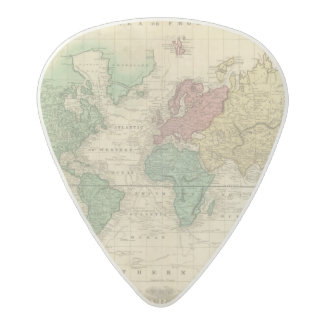 World on Mercators Projection 2 Acetal Guitar Pick