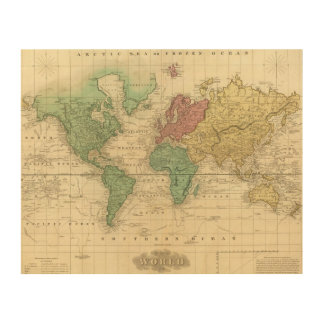 World on Mercators Projection 2 Wood Canvases