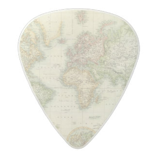 World On Mercator's Projection Acetal Guitar Pick