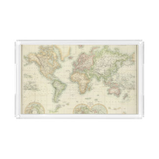 World On Mercator's Projection Acrylic Tray