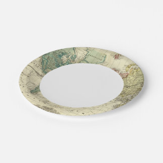 World on Mercators Projection Paper Plate