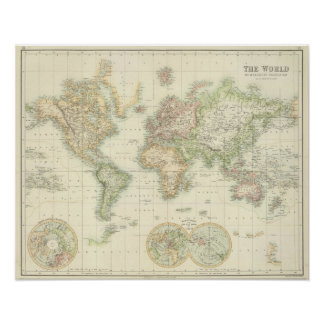 World On Mercator's Projection Poster