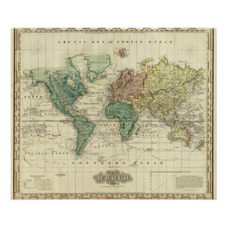 World on Mercators Projection Poster