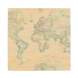 World On Mercator's Projection Wood Coaster