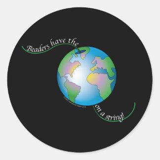 World On String Round Sticker