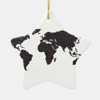 World Outline Dots Christmas Ornament