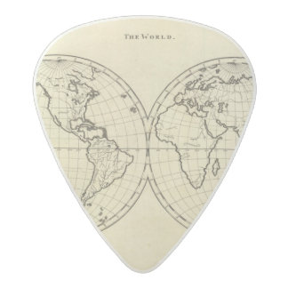 World outline double hemisphere acetal guitar pick